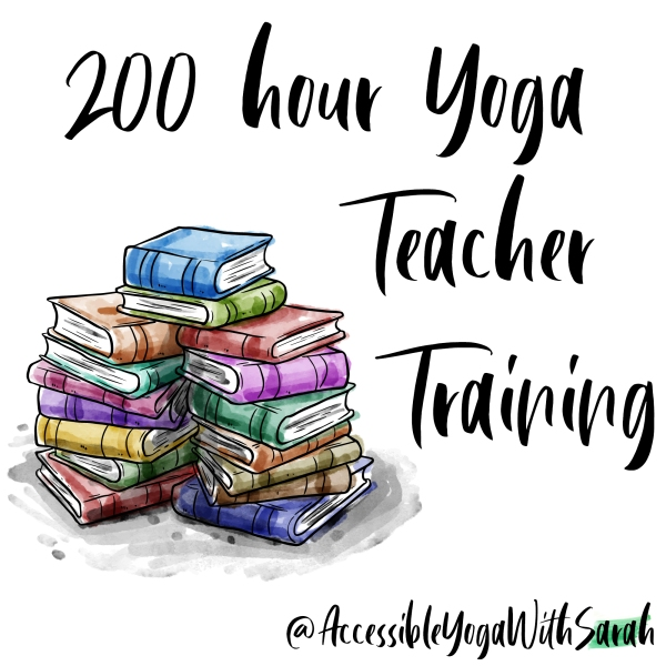 A watercolour image of stacks of books with the text '200 hour Yoga Teacher Training' at the top.