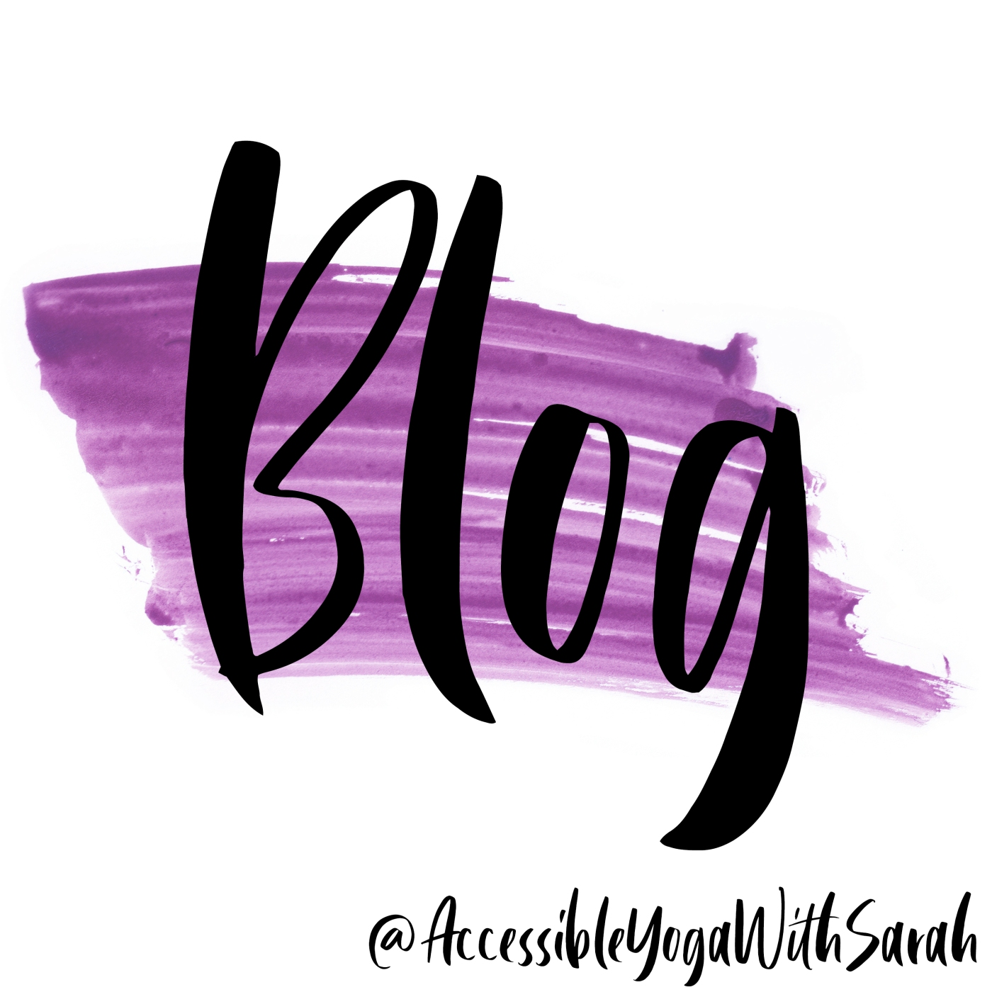 A purple watercolour stripe, the logo of Accessible Yoga with Sarah, with the word Blog over the top.
