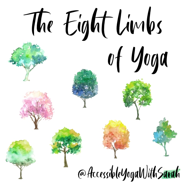 Eight watercolour images of trees, with the text 'The eight limbs of yoga' at the top.