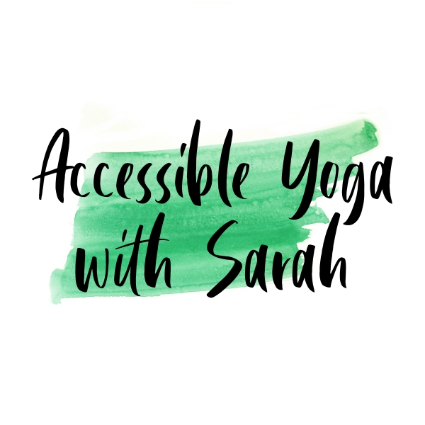 A green watercolour stripe with the words 'Accessible Yoga with Sarah'