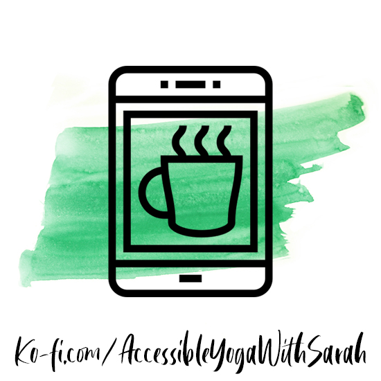 A green watercolour stripe with an icon of a phone with a cup of coffee