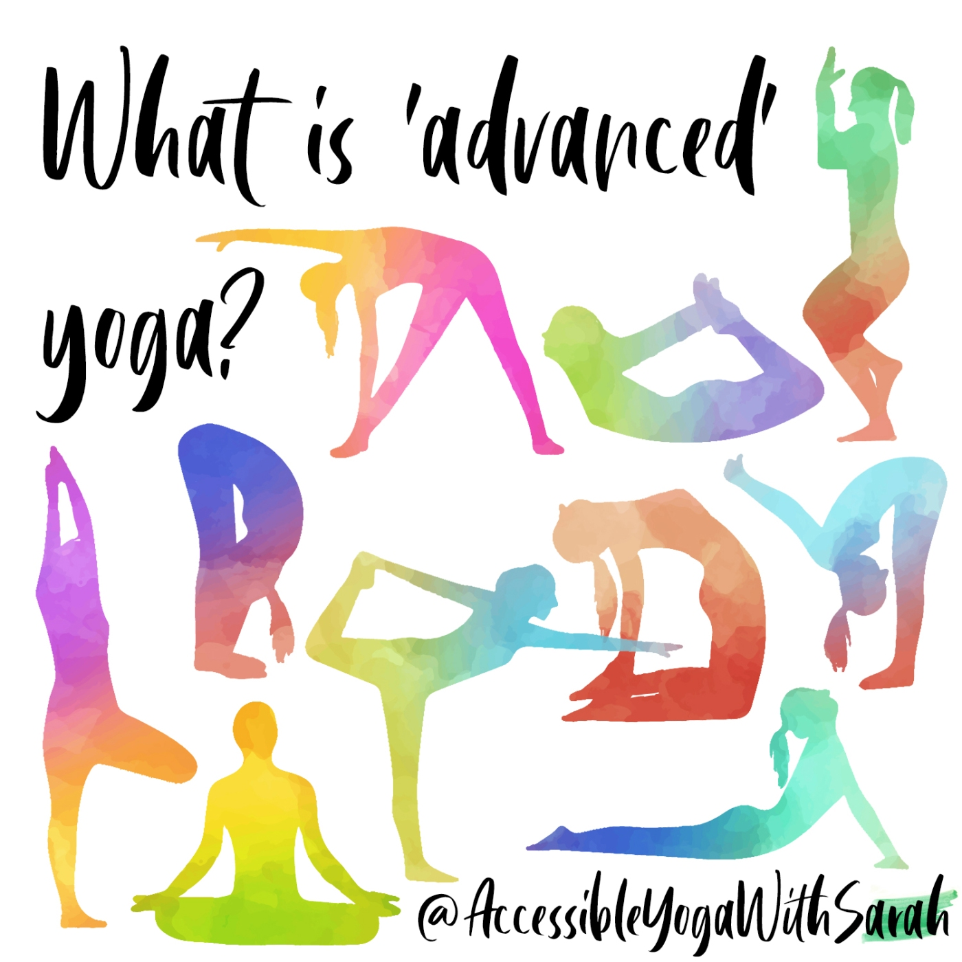 Watercolour images of yoga asana with the words 'What is 'advanced' yoga?'