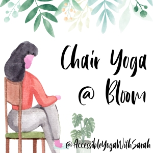 A watercolour image of someone sitting in a chair with their legs crossed, they are surrounded by plants.