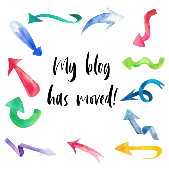 Text: My blog has moved! - surrounded by watercolour arrows.
