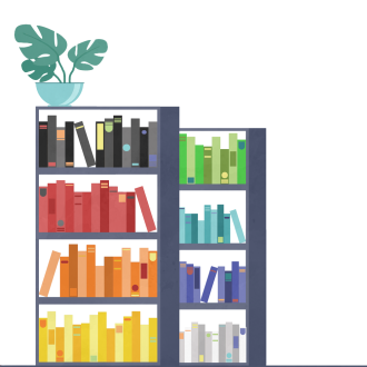 An illustration of a bookshelf, the books are arranged in a rainbow colour order