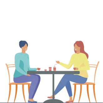 An illustration of two people sitting drinking coffee