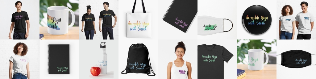 A collage of products with the Accessible Yoga with Sarah logo on them